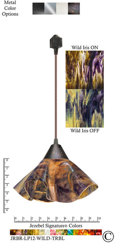 Jezebel Signature® Lily Track Lighting Pendant Small. Hardware: Brown. Glass: Wild Iris - PeazzLighting