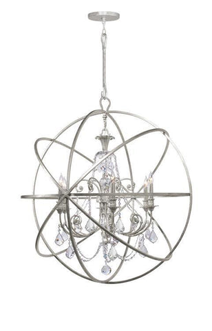 Crystorama 9219-OS-CL-SAQ Solaris 6 Light Spectra Crystal Silver Sphere Chandelier - PeazzLighting