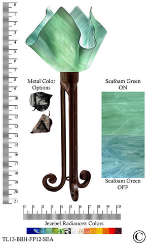 Jezebel Radiance® Torch Light. Hardware: Brown with Brown Highlights. Glass: Seafoam Green, Flame Style - PeazzLighting