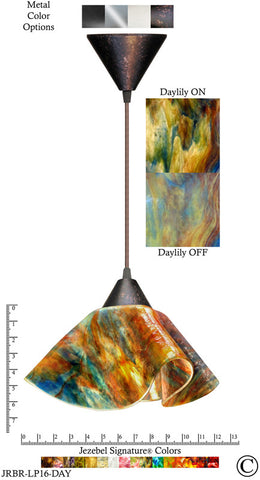Jezebel Signature® Lily Pendant Large. Hardware: Brown. Glass: Daylily - PeazzLighting