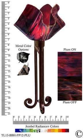 Jezebel Radiance® Torch Light. Hardware: Brown with Brown Highlights. Glass: Plum, Flame Style - PeazzLighting