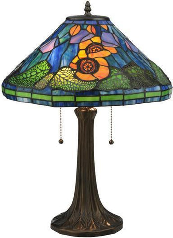 "Meyda Tiffany 119554 23""H Tiffany Poppy Cone Table Lamp - PeazzLighting"