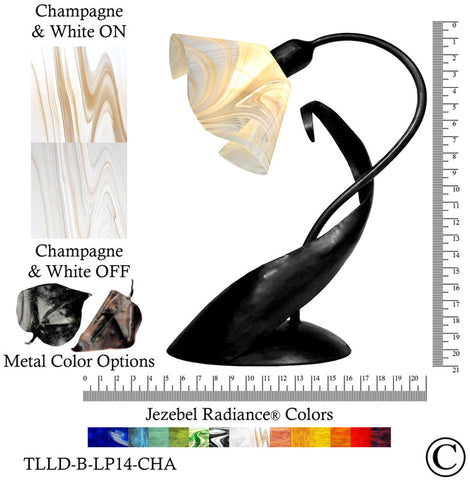 Jezebel Radiance® Lazy Daisy Lamp. Hardware: Black. Glass: Champagne and White, Lily Style - PeazzLighting