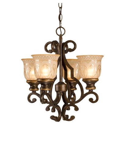 Crystorama Wrought Iron Chandelier Handpainted with a Amber Glass Pattern 4 Lights - Bronze Umber - 7404-BU - PeazzLighting