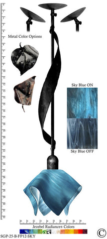 Jezebel Radiance® Sweetgrass Pendant. Hardware: Black. Glass: Sky Blue, Flame Style - PeazzLighting