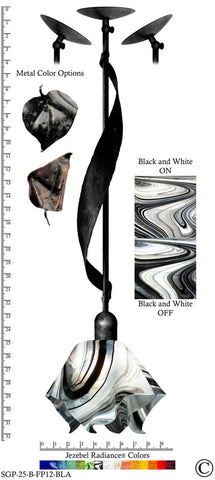 Jezebel Radiance® Sweetgrass Pendant. Hardware: Black. Glass: Black and White, Flame Style - PeazzLighting