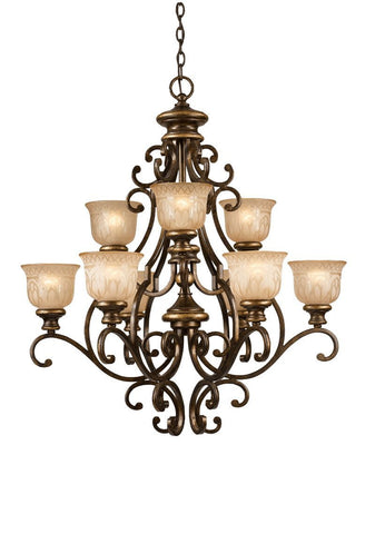 Crystorama Wrought Iron Chandelier Handpainted with a Amber Glass Pattern 6 Lights - Bronze Umber - 7409-BU - PeazzLighting