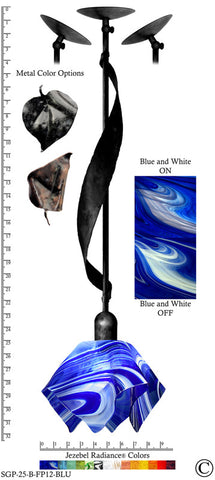 Jezebel Radiance® Sweetgrass Pendant. Hardware: Black. Glass: Blue and White, Flame Style - PeazzLighting