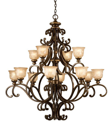 Crystorama Wrought Iron Chandelier Handpainted with a Amber Glass Pattern 12 Lights - Bronze Umber - 7412-BU - PeazzLighting