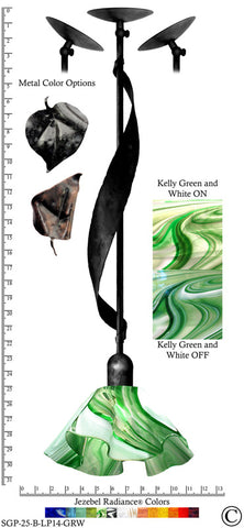 Jezebel Radiance® Sweetgrass Pendant. Hardware: Black. Glass: Kelly Green and White, Lily Style - PeazzLighting