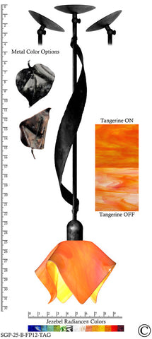 Jezebel Radiance® Sweetgrass Pendant. Hardware: Black. Glass: Tangerine, Flame Style - PeazzLighting