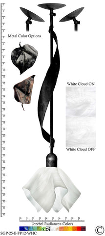 Jezebel Radiance® Sweetgrass Pendant. Hardware: Black. Glass: White Cloud, Flame Style - PeazzLighting