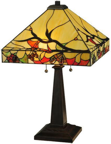 "Meyda Tiffany 131507 25""H Woodland Berries Table Lamp - PeazzLighting"