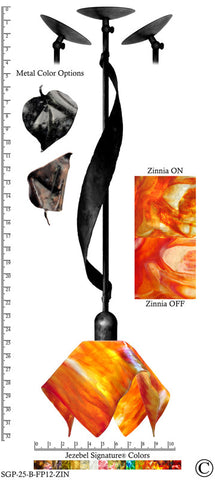 Jezebel Signature® Sweetgrass Pendant. Hardware: Black. Glass: Zinnia, Flame Style - PeazzLighting