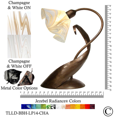 Jezebel Radiance® Lazy Daisy Lamp. Hardware: Brown with Brown Highlights. Glass: Champagne and White, Lily Style - PeazzLighting
