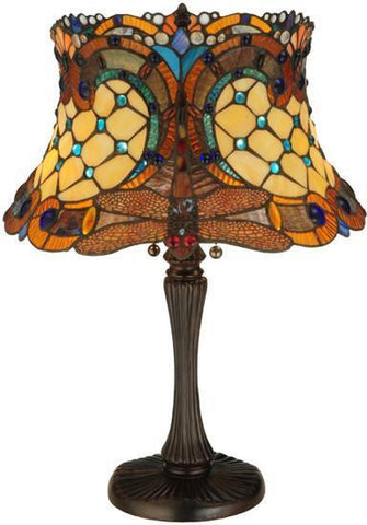 "Meyda Tiffany 130762 22.5""H Tiffany Hanginghead Dragonfly Table Lamp - PeazzLighting"