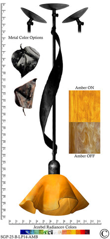 Jezebel Radiance® Sweetgrass Pendant. Hardware: Black. Glass: Amber, Lily Style - PeazzLighting