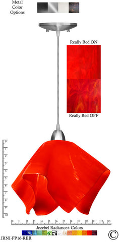 Jezebel Radiance Flame Pendant Large - Hardware Nickel - Glass Really Cherry Red - PeazzLighting