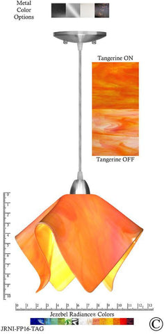 Jezebel Radiance Flame Pendant Large - Hardware Nickel - Glass Tangerine Orange - PeazzLighting