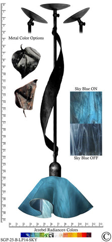 Jezebel Radiance® Sweetgrass Pendant. Hardware: Black. Glass: Sky Blue, Lily Style - PeazzLighting