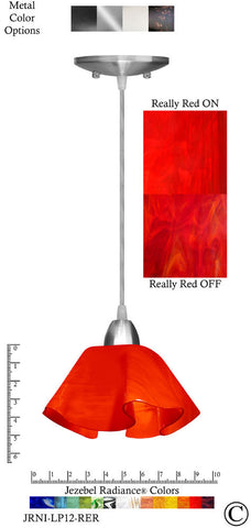 Jezebel Radiance Lily Pendant Small - Hardware Nickel - Glass Really Cherry Red - PeazzLighting