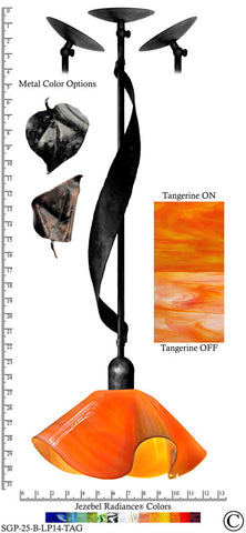 Jezebel Radiance® Sweetgrass Pendant. Hardware: Black. Glass: Tangerine, Lily Style - PeazzLighting