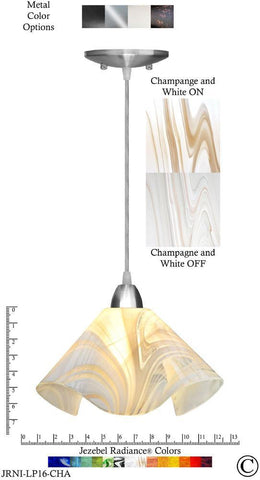 Jezebel Radiance Lily Pendant Large - Hardware Nickel - Glass Champagne, Beige & White - PeazzLighting