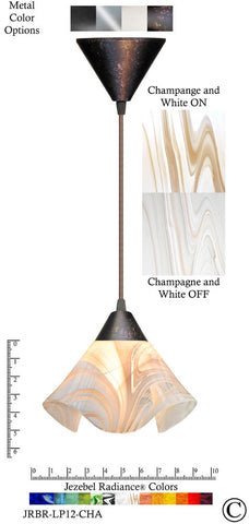 Jezebel Radiance Lily Pendant Small - Hardware Brown - Glass Champagne, Beige & White - PeazzLighting