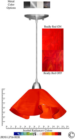 Jezebel Radiance Lily Pendant Large - Hardware Nickel - Glass Really Cherry Red - PeazzLighting