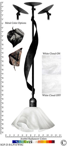 Jezebel Radiance® Sweetgrass Pendant. Hardware: Black. Glass: White Cloud, Lily Style - PeazzLighting