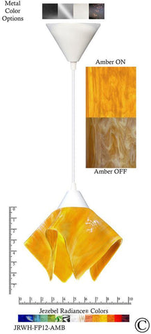 Jezebel Radiance Flame Pendant Small - Hardware White - Glass Amber Gold Yellow - PeazzLighting