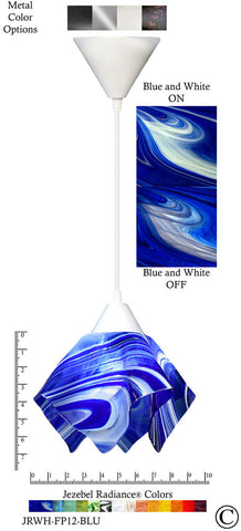 Jezebel Radiance Flame Pendant Small - Hardware White - Glass Blue And White - PeazzLighting