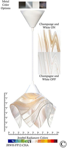 Jezebel Radiance Flame Pendant Small - Hardware White - Glass Champagne, Beige & White - PeazzLighting