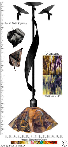 Jezebel Signature® Sweetgrass Pendant. Hardware: Black. Glass: Wild Iris, Lily Style - PeazzLighting