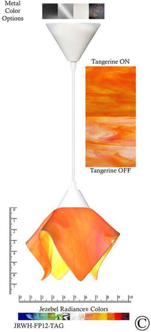 Jezebel Radiance Flame Pendant Small - Hardware White - Glass Tangerine Orange - PeazzLighting