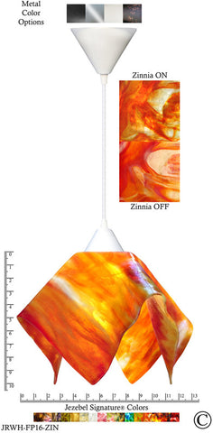 Jezebel Signature® Flame Pendant Large. Hardware: White. Glass: Zinnia - PeazzLighting