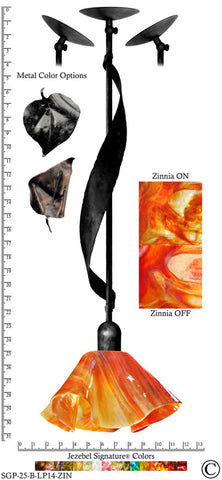 Jezebel Signature® Sweetgrass Pendant. Hardware: Black. Glass: Zinnia, Lily Style - PeazzLighting