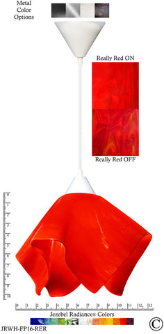 Jezebel Radiance Flame Pendant Large - Hardware White - Glass Really Cherry Red - PeazzLighting