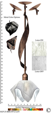 Jezebel Signature® Sweetgrass Pendant. Hardware: Brown with Brown Highlights. Glass: Lotus, Flame Style - PeazzLighting