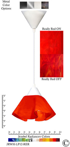 Jezebel Radiance Lily Pendant Small - Hardware White - Glass Really Cherry Red - PeazzLighting