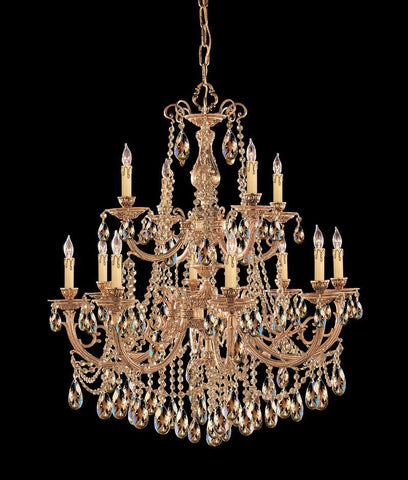 Crystorama Ornate Cast Brass Chandelier Accented with Golden Teak Wood Polished Crystal 8 Lights - Olde Brass - 479-OB-GT-MWP - PeazzLighting