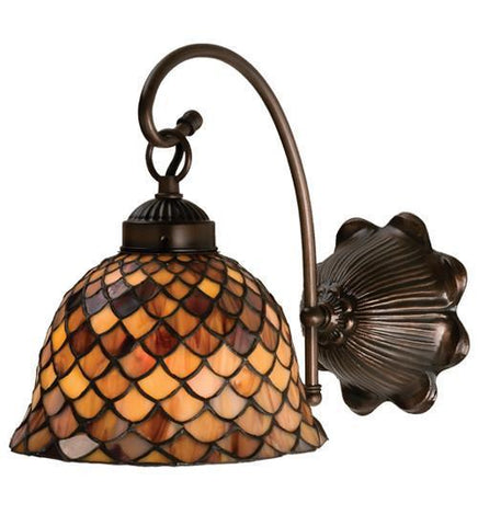"Meyda Tiffany 18631 8""W Tiffany Fishscale Wall Sconce - PeazzLighting"