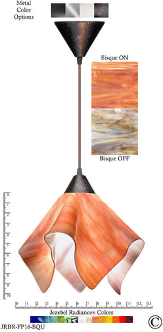 Jezebel Radiance Flame Pendant Large - Hardware Brown - Glass Bisque Orange Cream - PeazzLighting