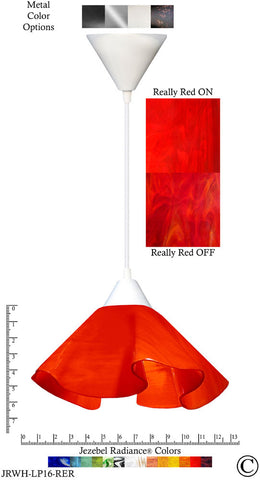 Jezebel Radiance Lily Pendant Large - Hardware White - Glass Really Cherry Red - PeazzLighting