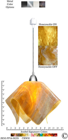 Jezebel Signature® Flame Track Lighting Pendant Large. Hardware: Nickel. Glass: Honeysuckle - PeazzLighting