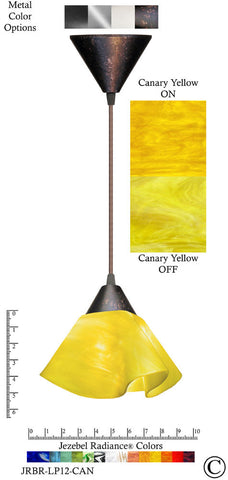 Jezebel Radiance Lily Pendant Small - Hardware Brown - Glass Canary Yellow - PeazzLighting