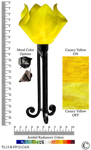 Jezebel Radiance® Torch Light. Hardware: Black. Glass: Canary Yellow, Flame Style - PeazzLighting