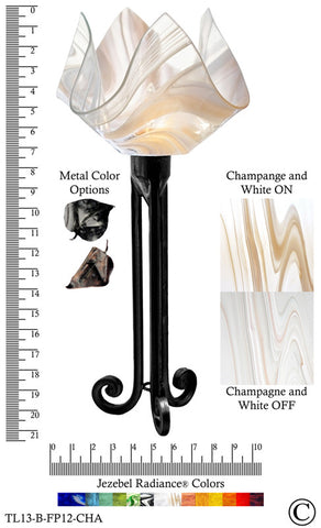 Jezebel Radiance® Torch Light. Hardware: Black. Glass: Champagne and White, Flame Style - PeazzLighting