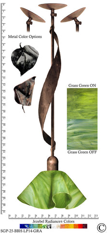 Jezebel Radiance® Sweetgrass Pendant. Hardware: Brown with Brown Highlights. Glass: Grass Green, Lily Style - PeazzLighting