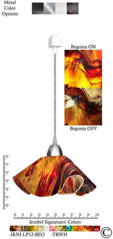 Jezebel Signature® Lily Track Lighting Pendant Small. Hardware: Nickel. Glass: Begonia - PeazzLighting